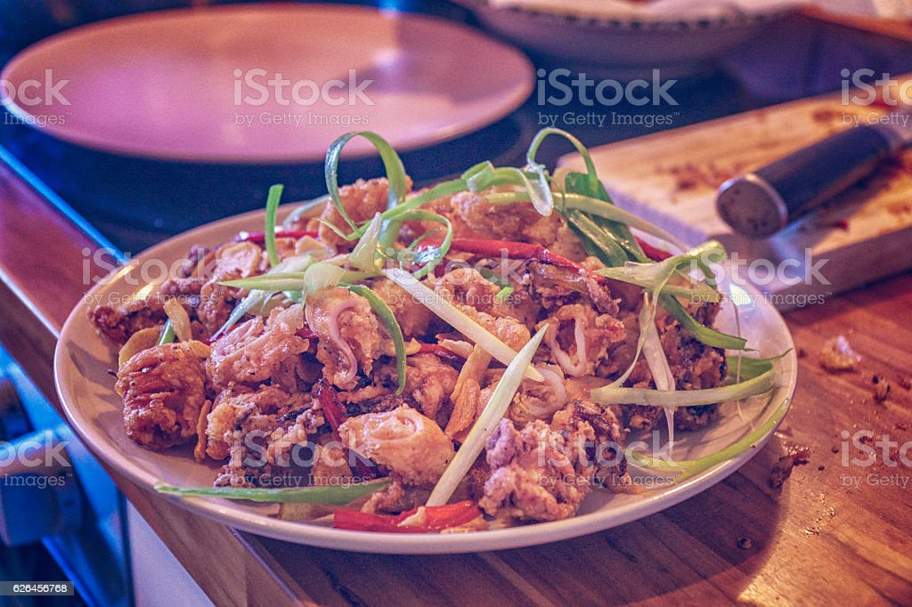 Deep Fried Squid with Chili and Spring Onions stock photo