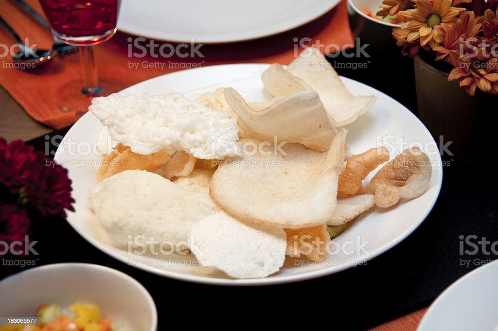 deep fried thai chips stock photo