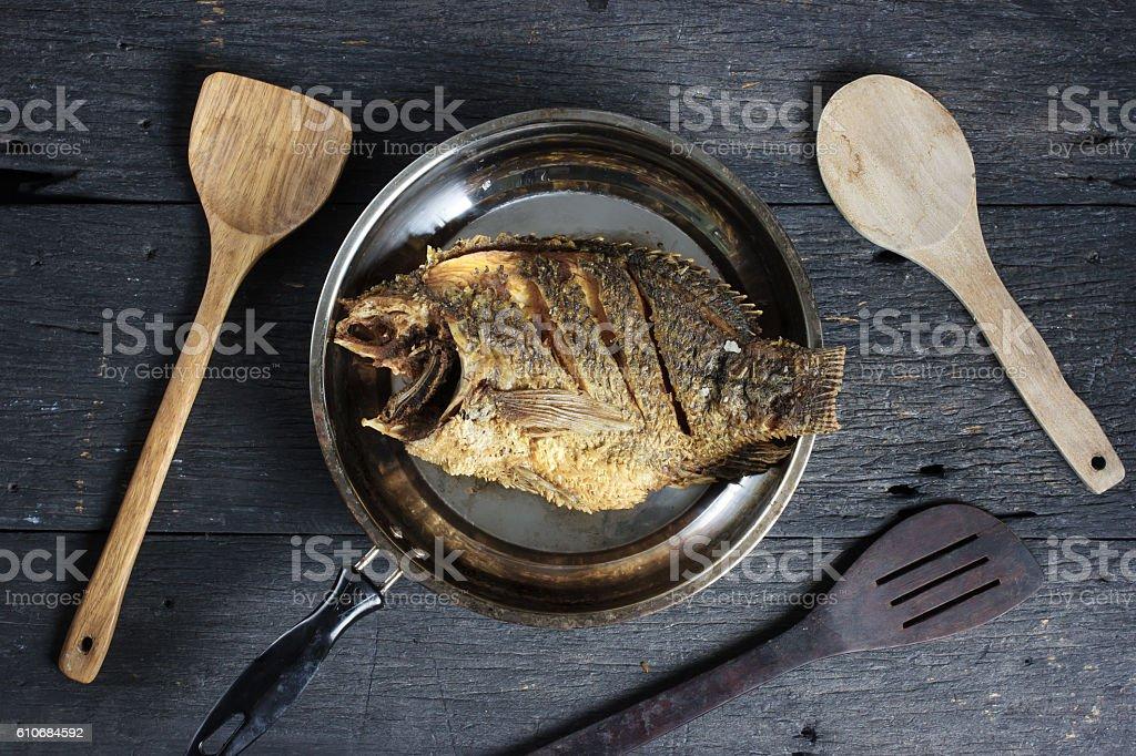 Deep Fried Tilapia Fish with salt, Top view stock photo