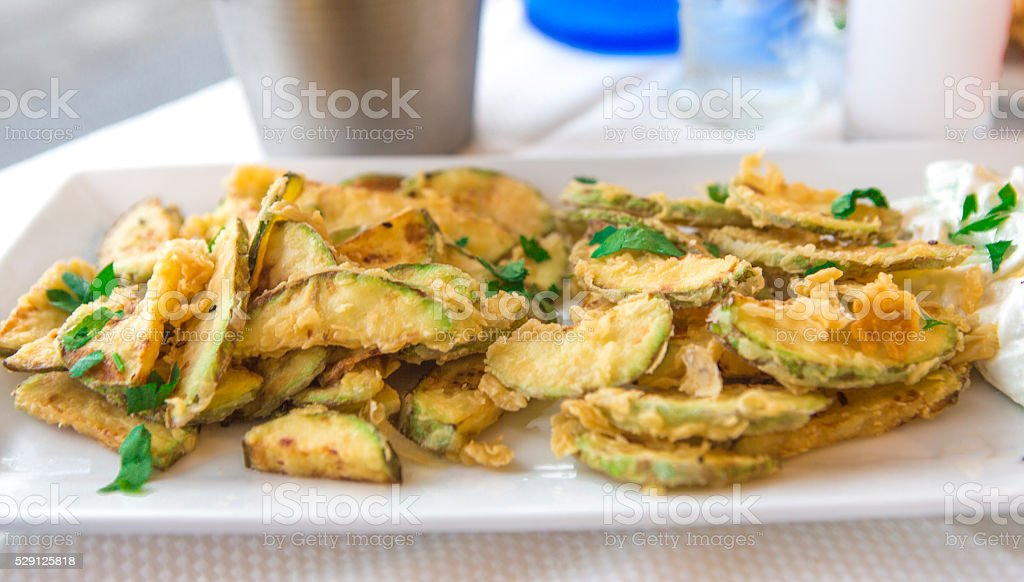 deep fried zucchini appetizer dish at thassos island kavala greece stock photo
