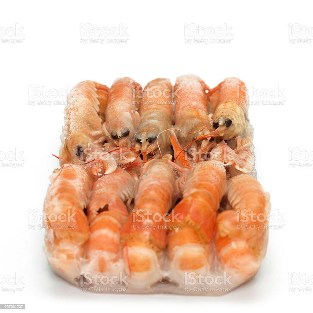 Deep frozen prawns, close-up stock photo