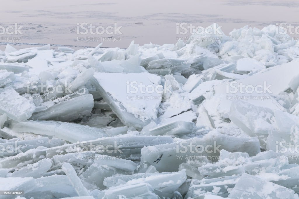 Deep ice on river Danube stock photo