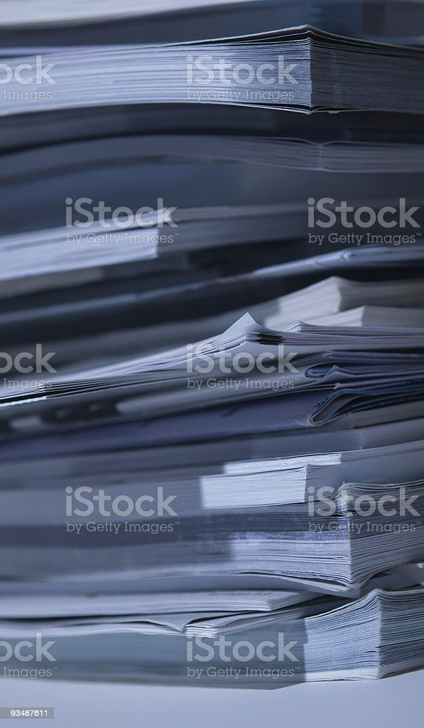 Deep inside a stack of books/papers royalty-free stock photo