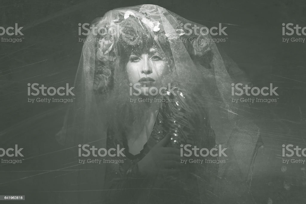 deep look of fairy woman in the night stock photo