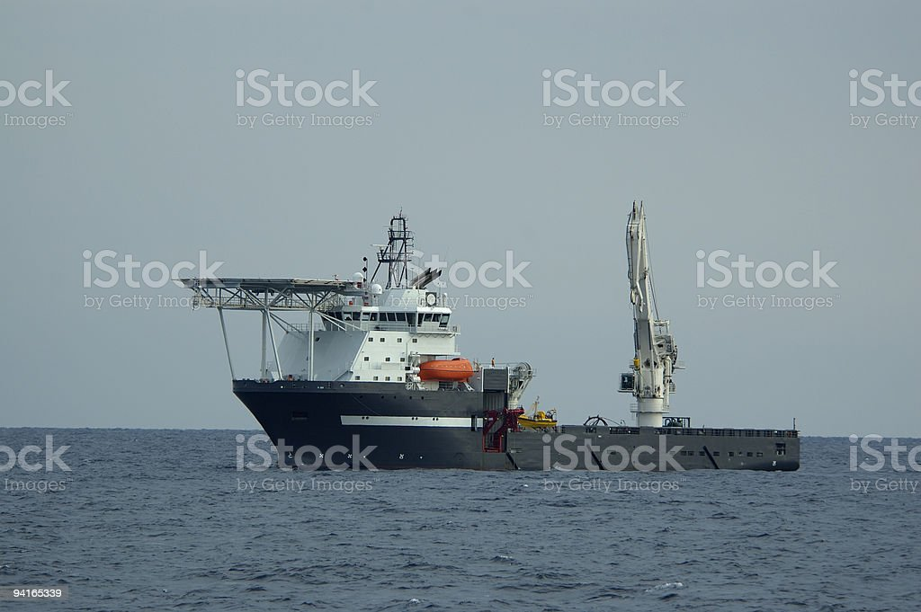 Deep Ocean Work Ship with Lift and Helideck stock photo