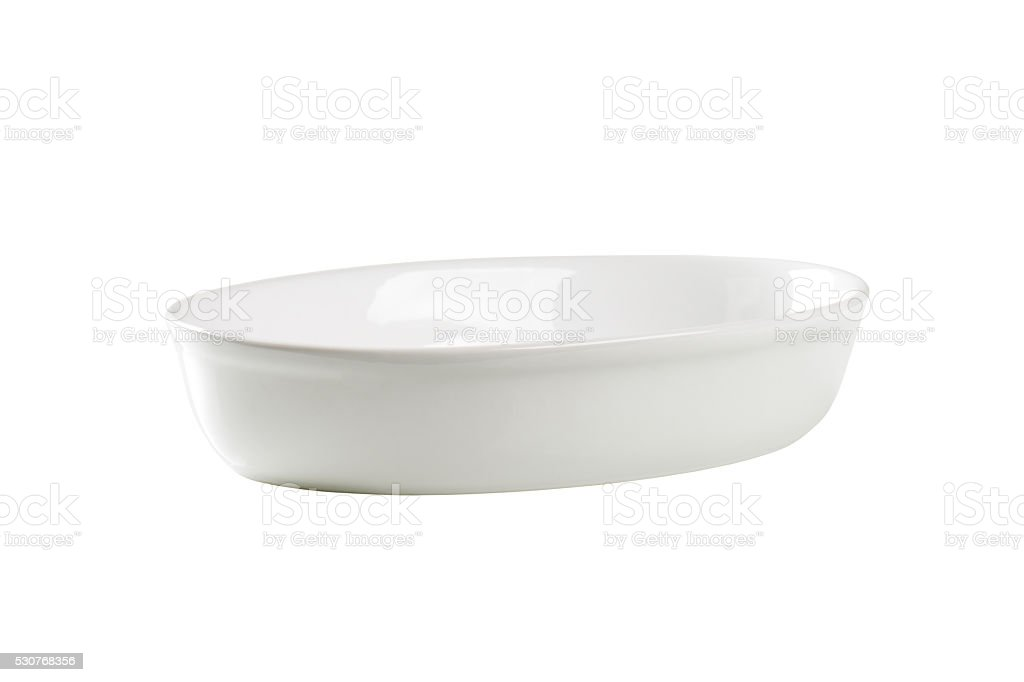 Deep oval porcelain dish stock photo