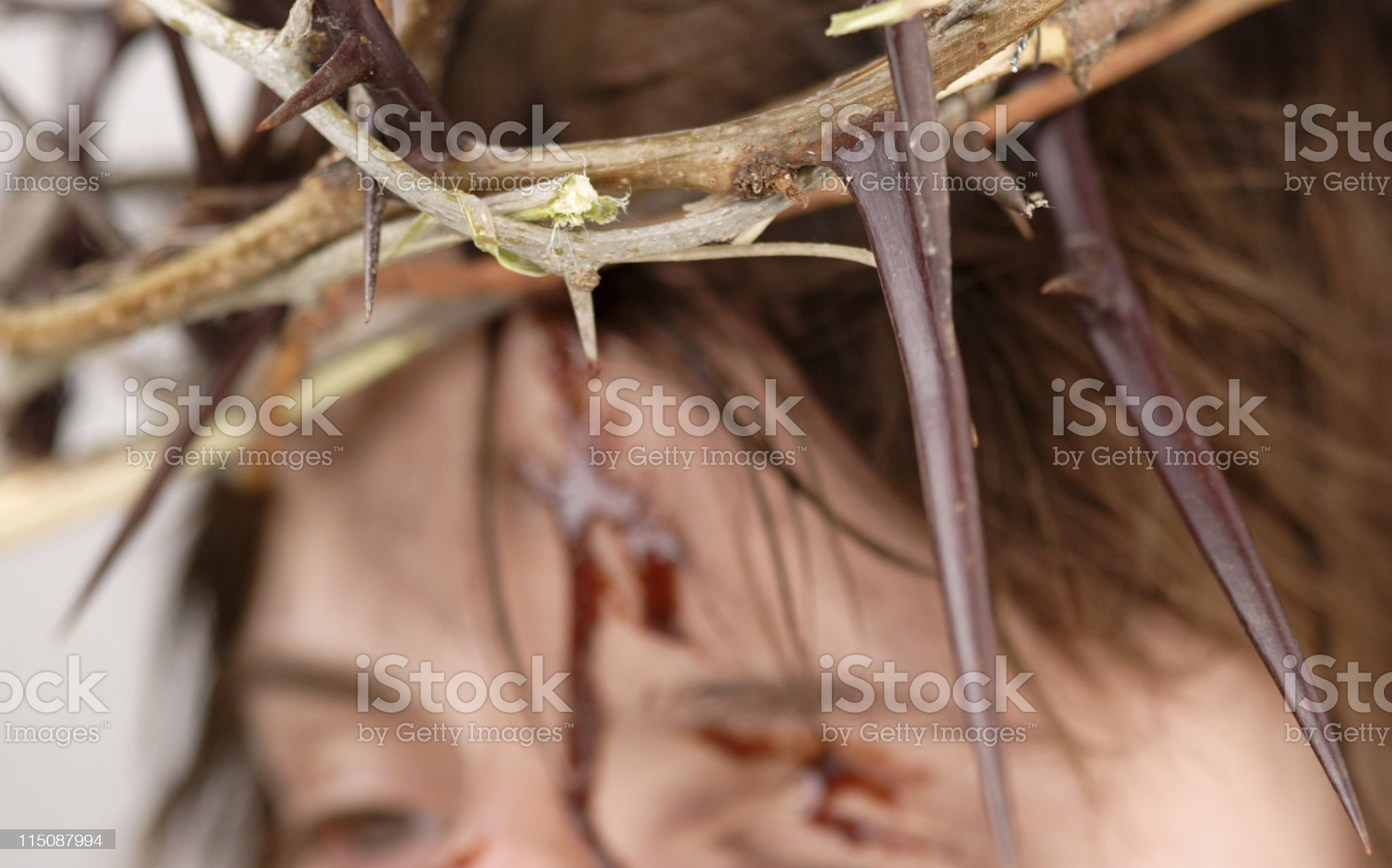 deep pain reflections on Christ suffering royalty-free stock photo