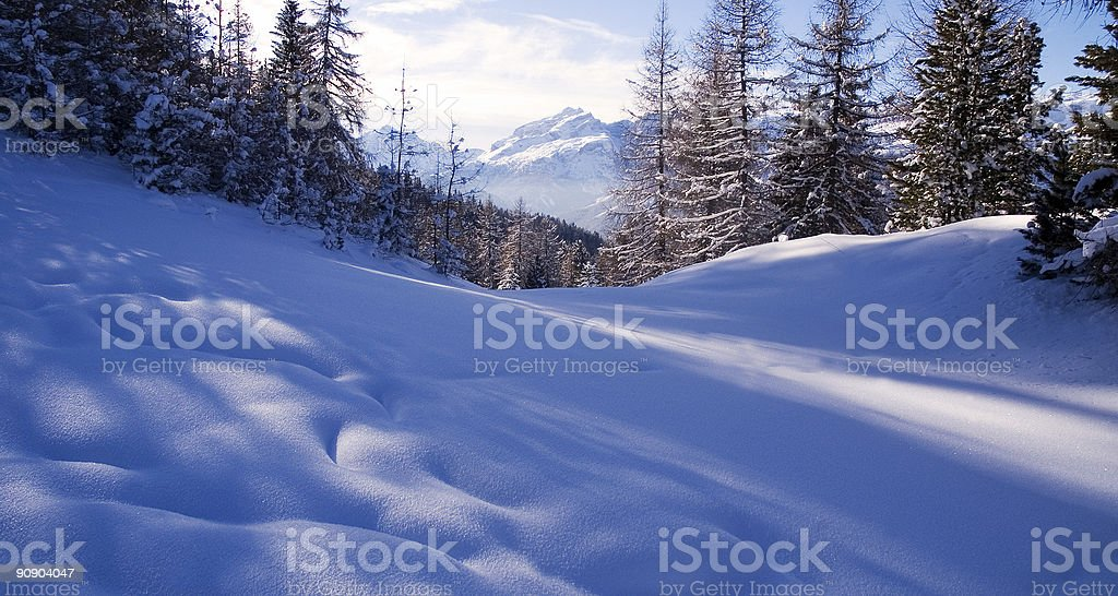 Deep powder in the Dolomites stock photo
