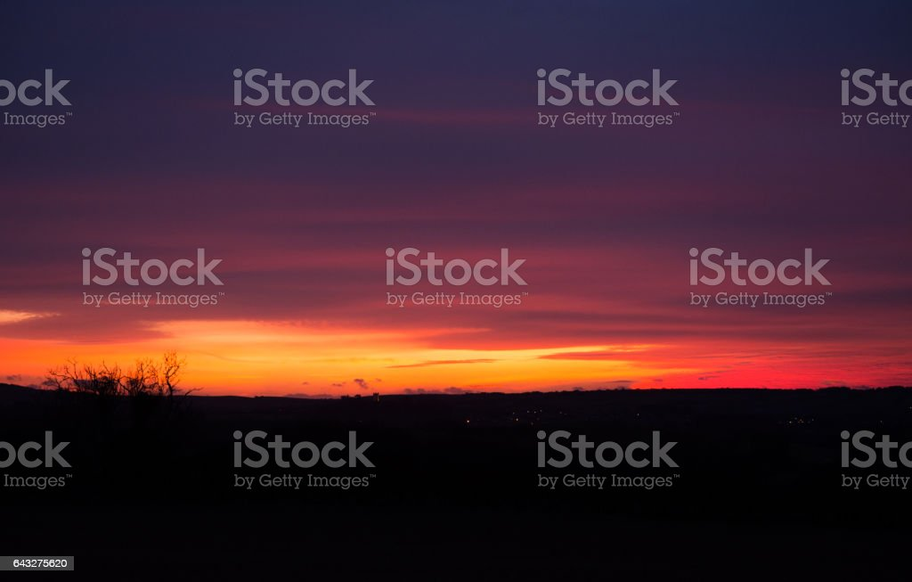 Deep Purple Sky and Clouds stock photo