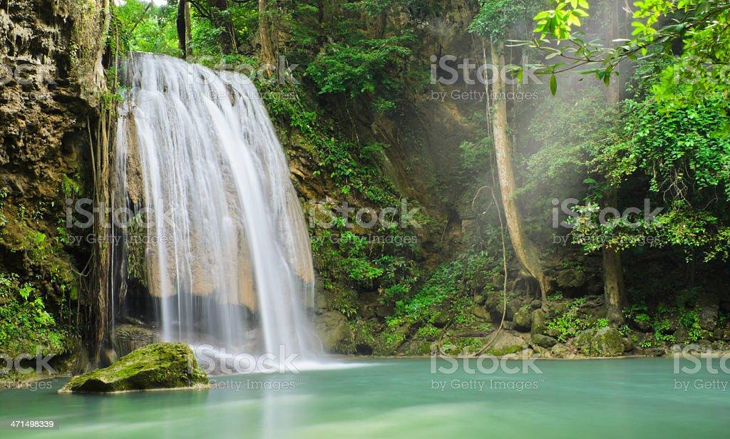 Deep rain forest waterfall royalty-free stock photo