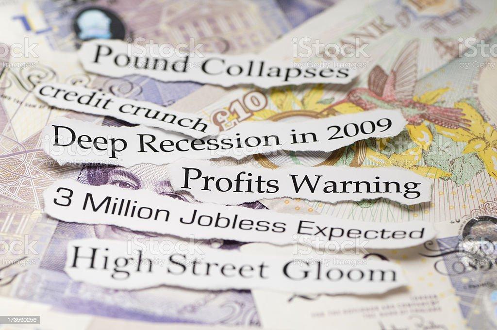 Deep Recession in 2009 Headline Topics royalty-free stock photo