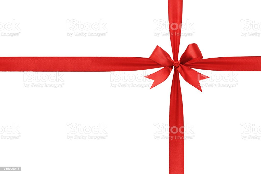 deep red ribbon with bow composition stock photo