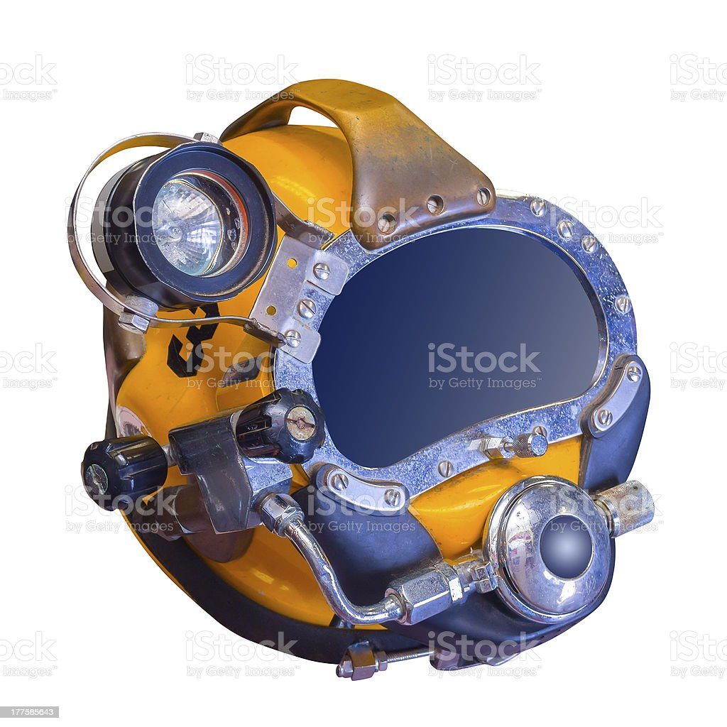Deep sea diving helmet, isolated stock photo
