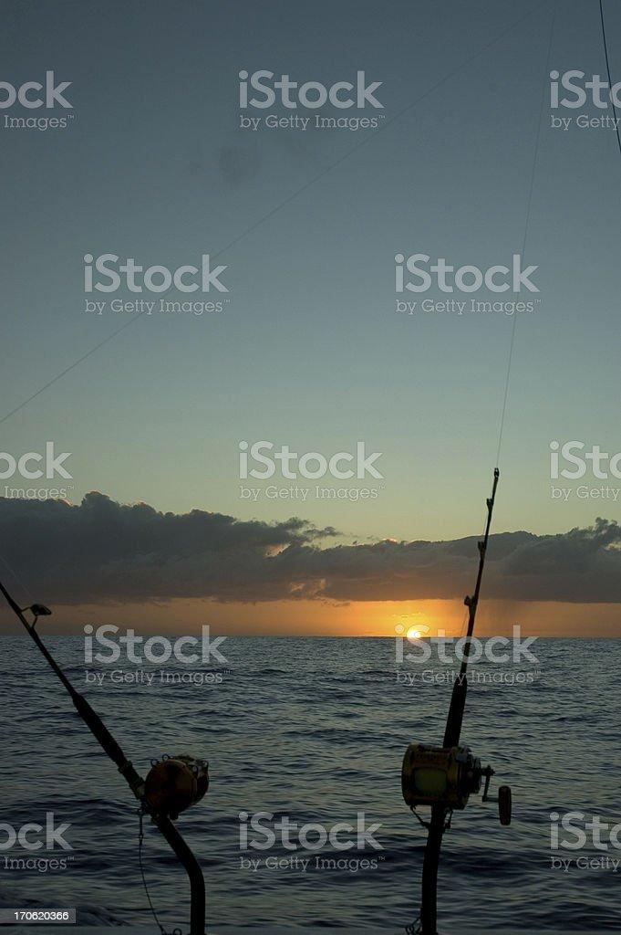Deep Sea Fishing at Dawn royalty-free stock photo