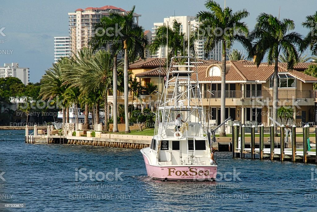 Deep sea fishing boat in Fort Lauderdale stock photo