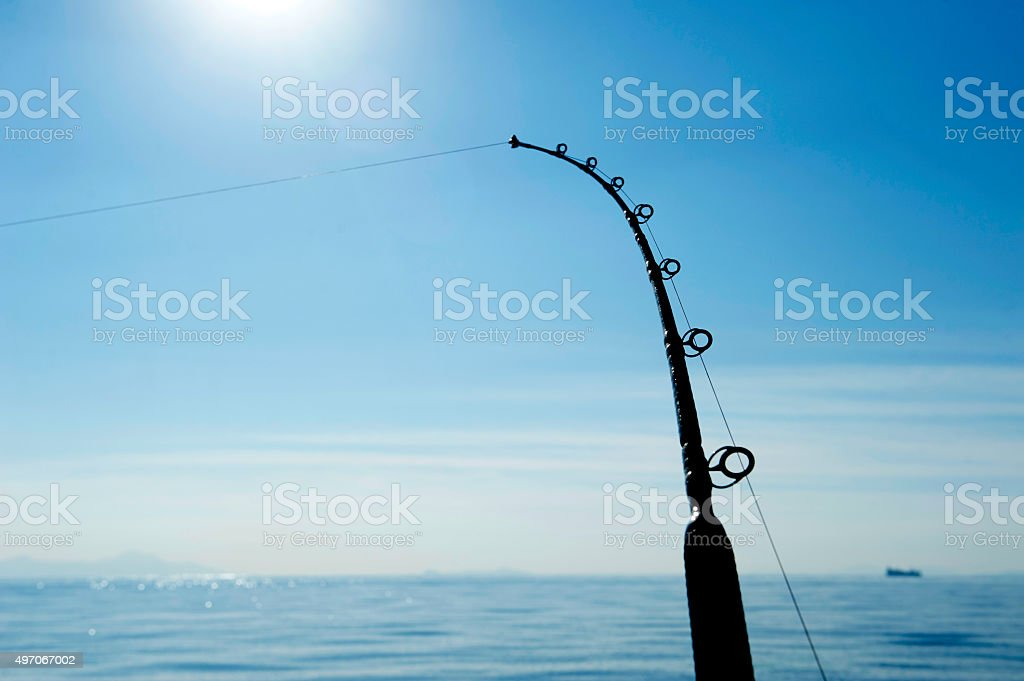 Deep Sea Fishing rod stock photo