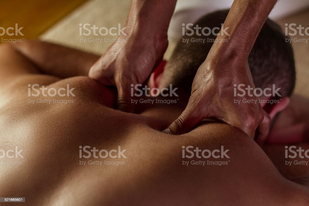Deep tissue massage stock photo