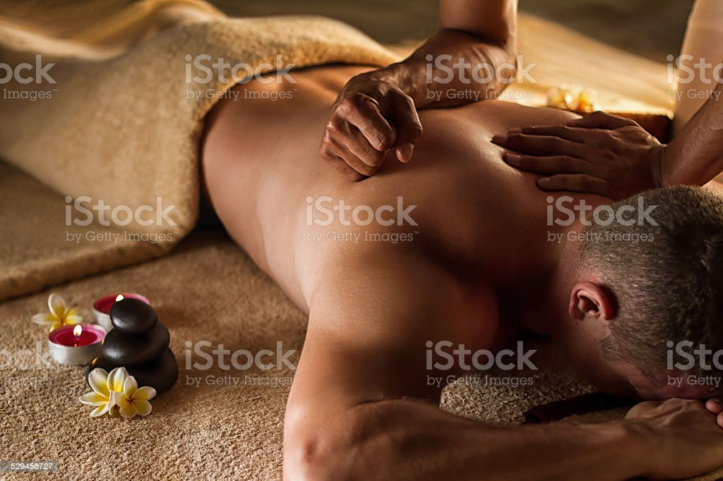 Deep tissue massage. stock photo