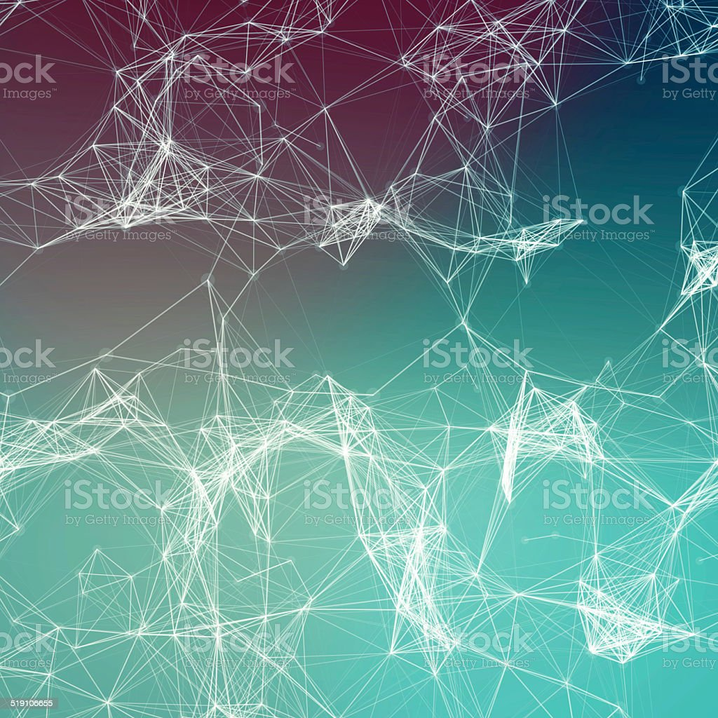 Deep underwater abstract background. Connecting dots stock photo