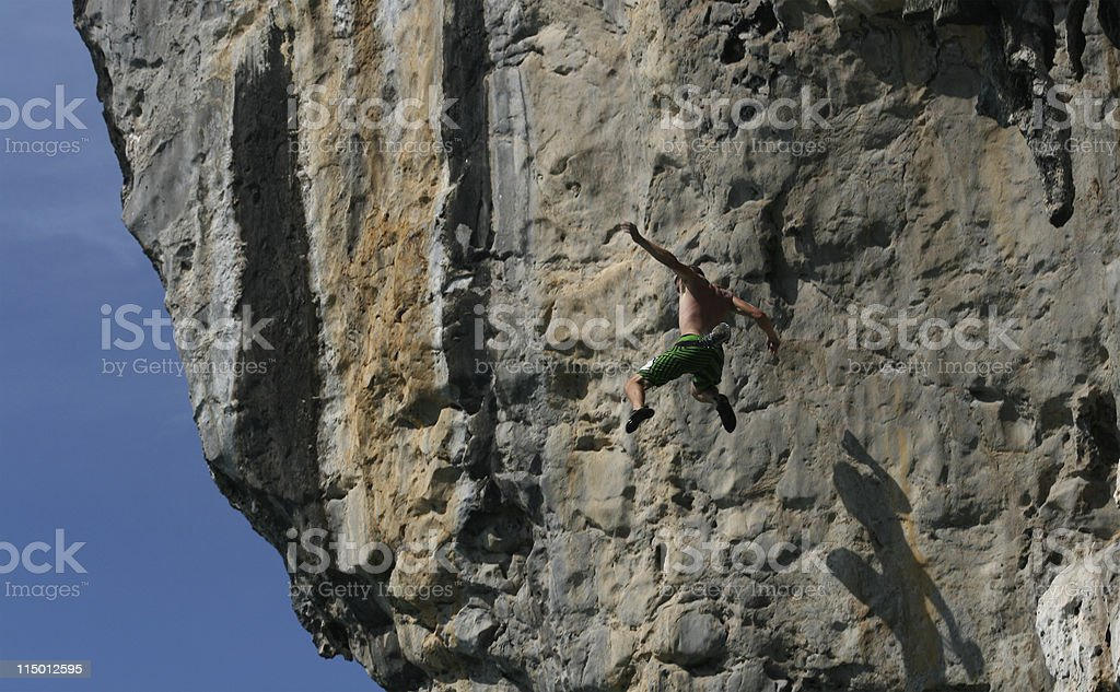 Deep water soloing royalty-free stock photo