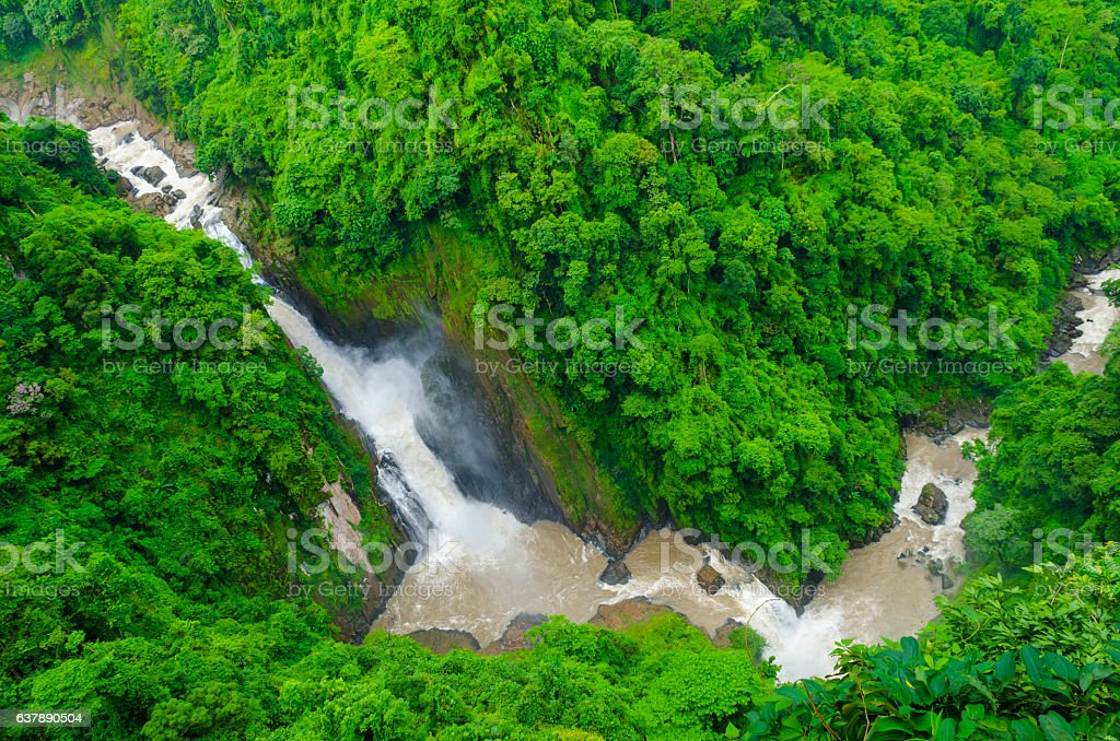 deep waterfall in tropical forest, Asia stock photo