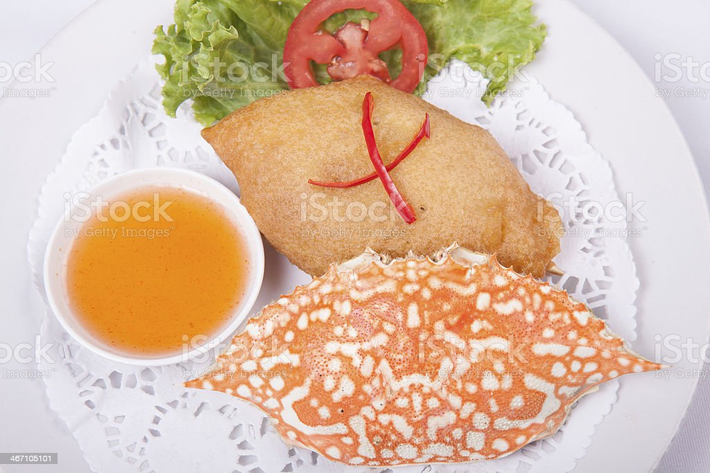 Deep-fried crab meat and minced pork Thai food royalty-free stock photo