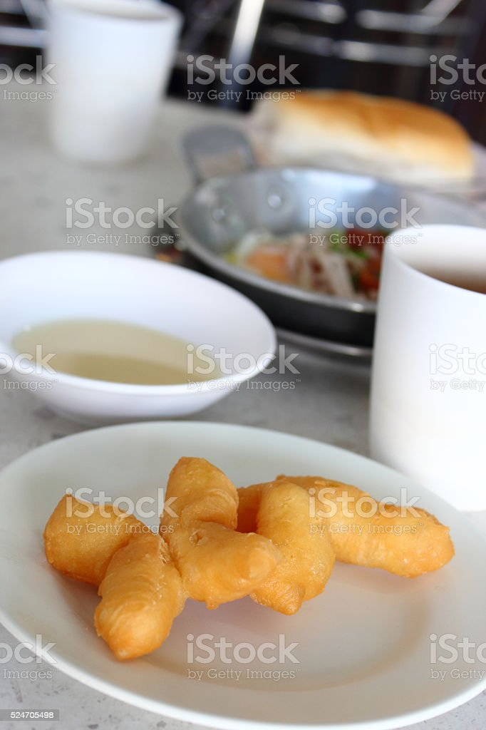 Deep-fried dough stick breakfast or snack of the chinese people stock photo