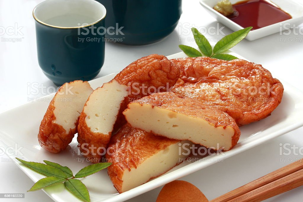 Deep‐fried minced fish Satsumaage and rice wine, Japanese food stock photo