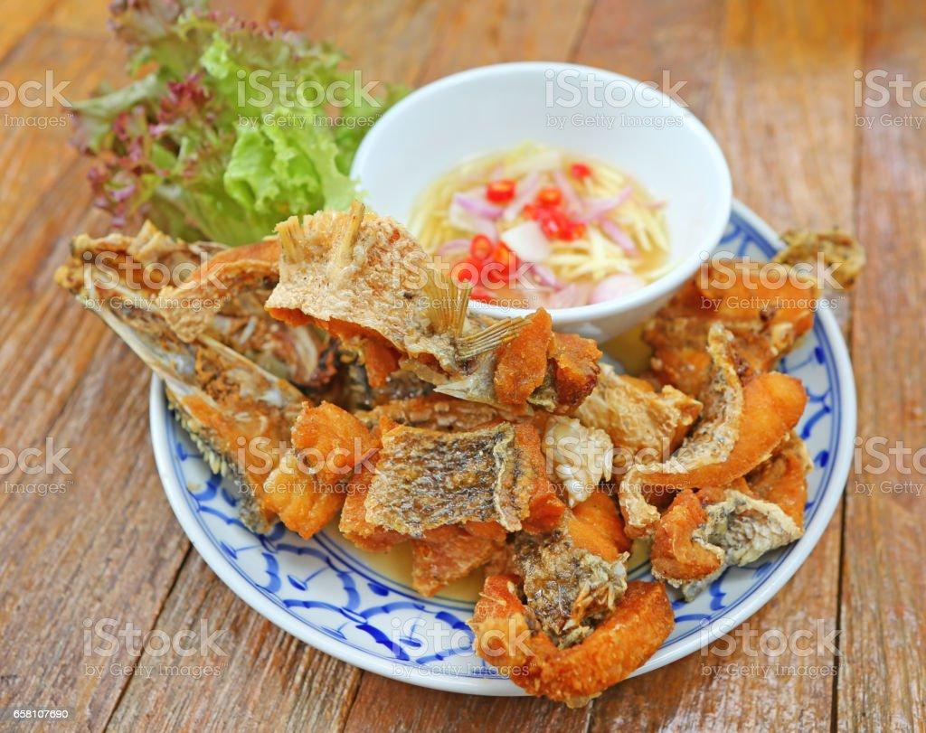 Deep-Fried Sea Bass With Fish Sauce stock photo