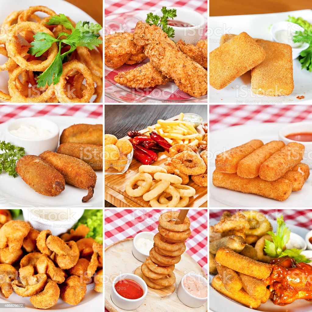 Deep-fried snacks collage stock photo