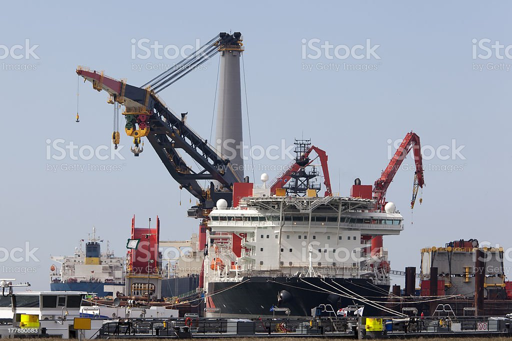 Deepwater construction vessel (DCV) royalty-free stock photo