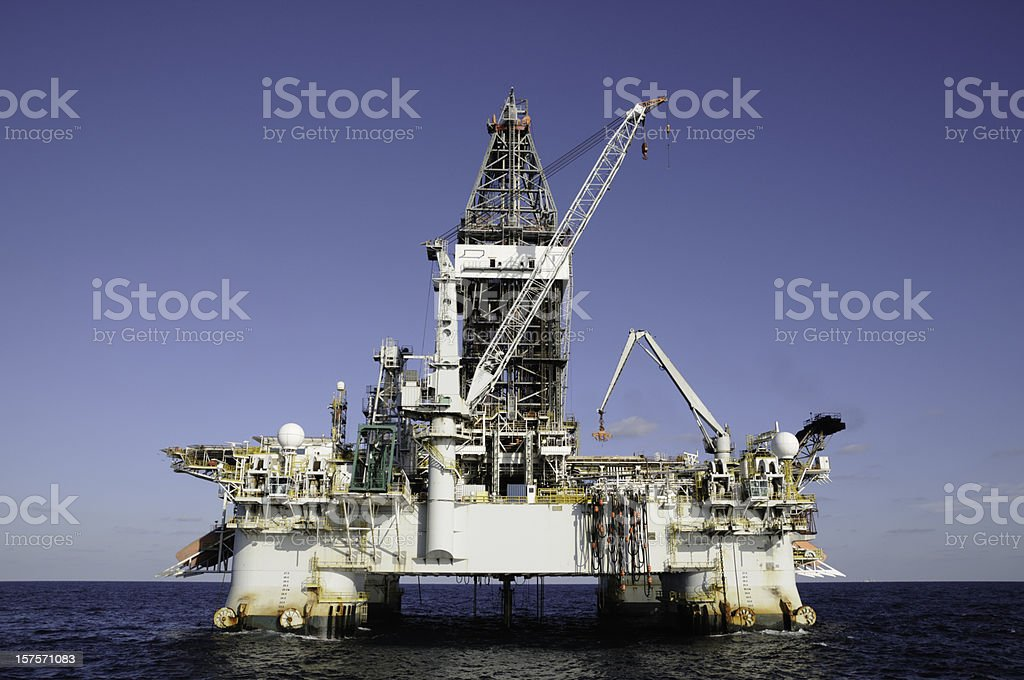 Deepwater DP drilling platform. Semi-submersible oil rig royalty-free stock photo