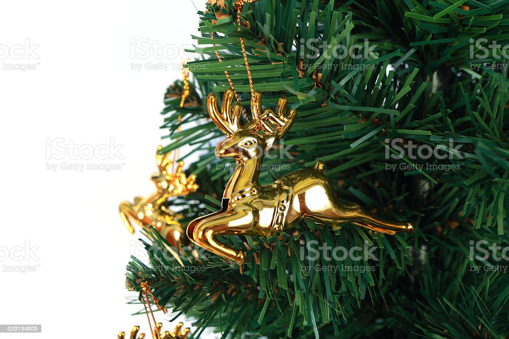 deer christmas tree on white background 6 stock photo