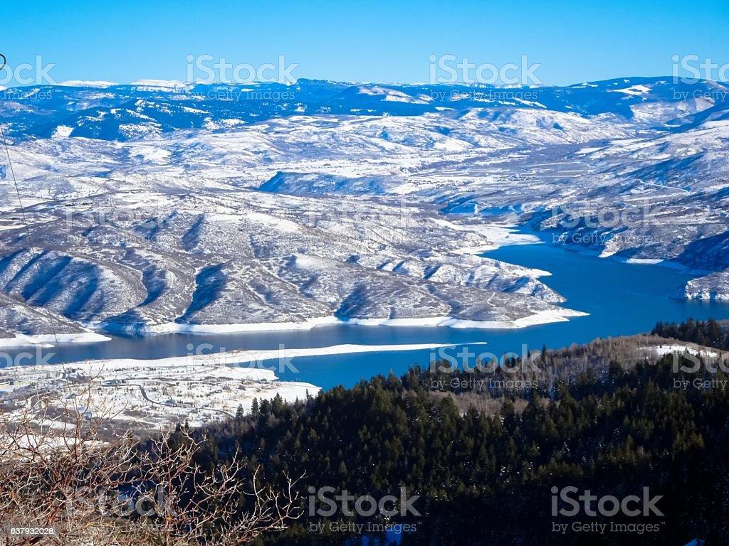Deer creek reservoire in utah stock photo