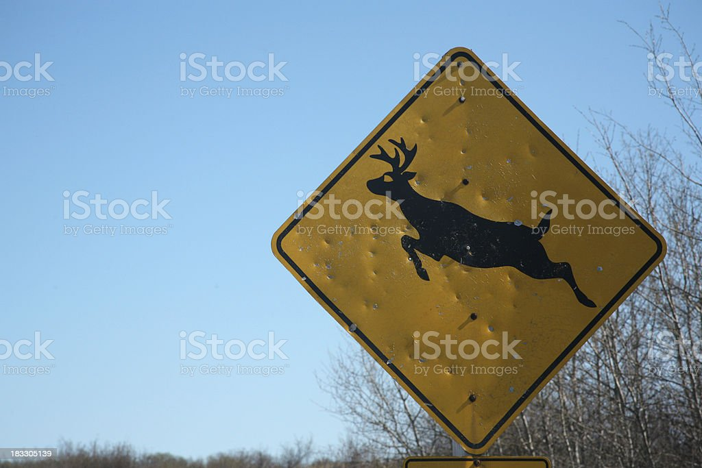 deer crossing sign royalty-free stock photo