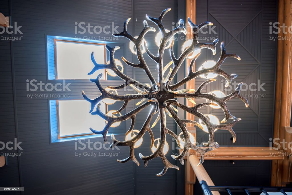 Deer horns chandelier stock photo
