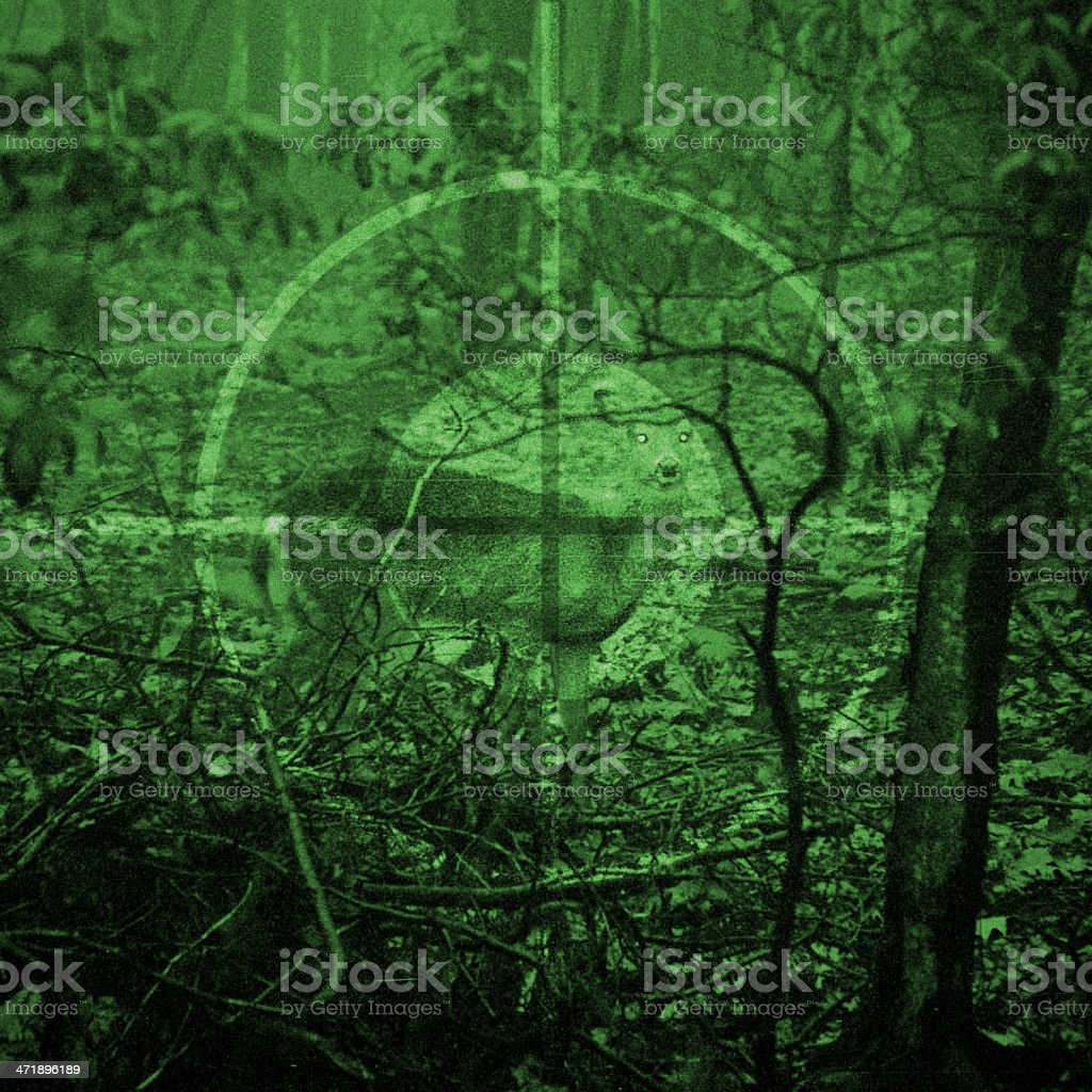 Deer in Crosshairs - Night Vision Rifle Scope stock photo