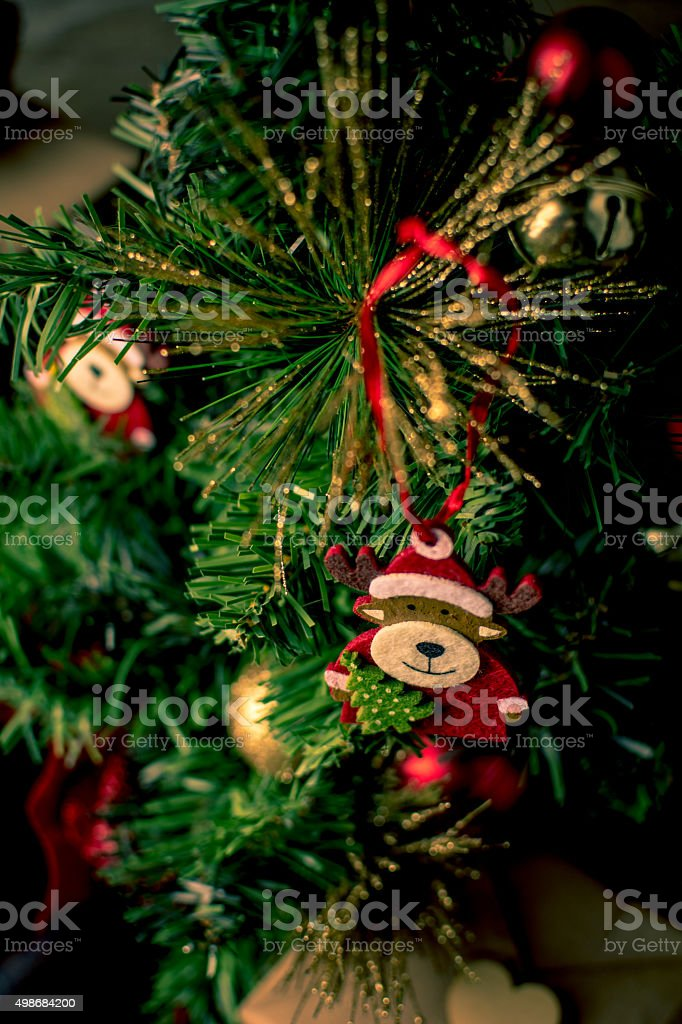 Deer on a Christmas Tree stock photo