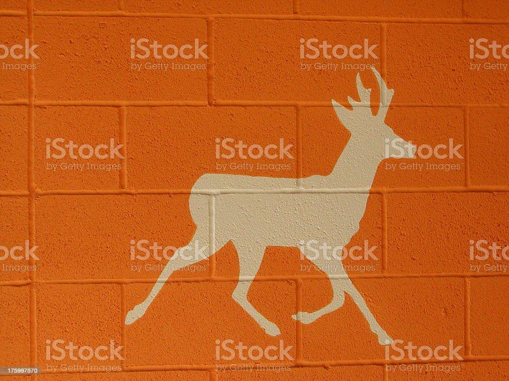 deer on cinderblock royalty-free stock photo