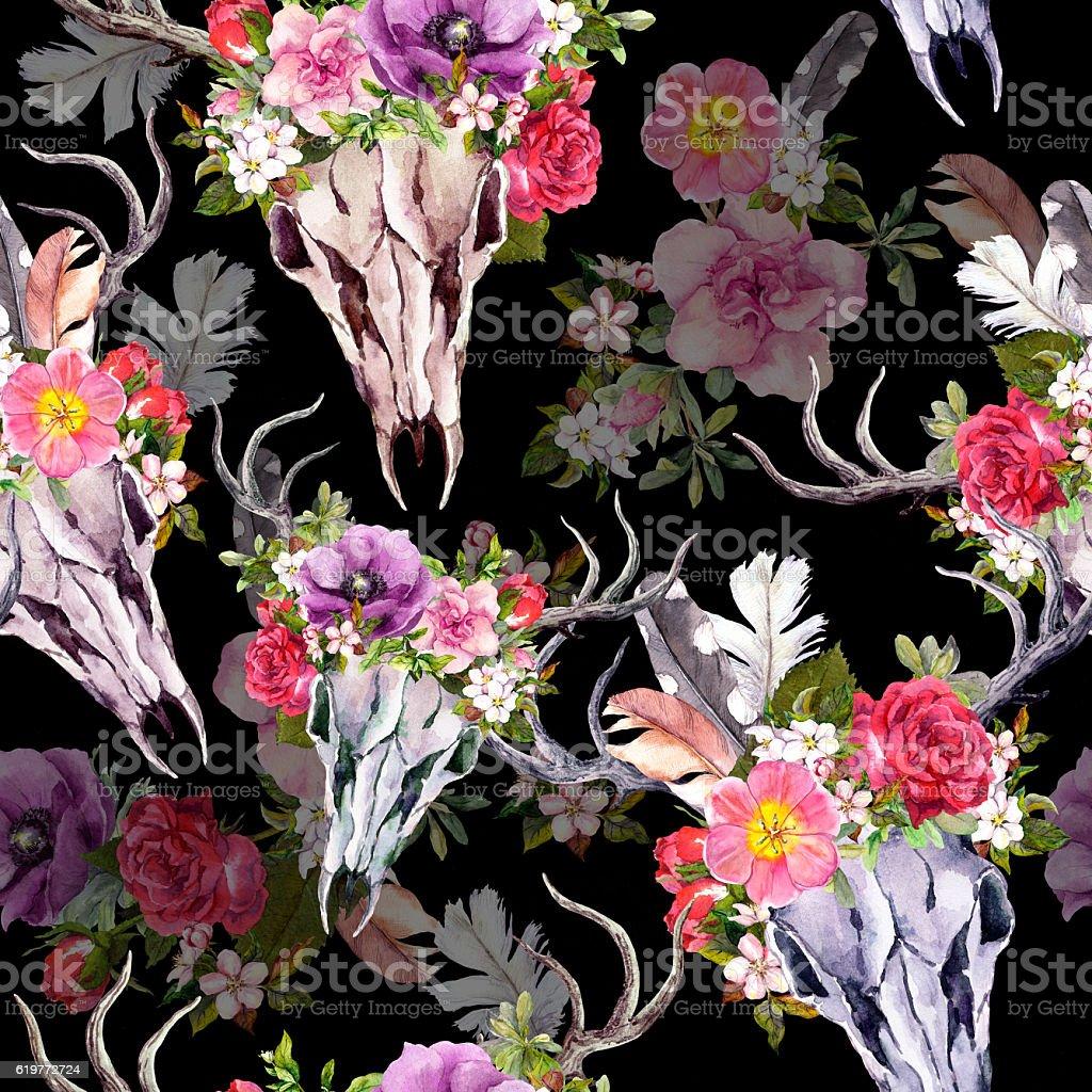 Deer skulls with flowers. Seamless pattern. Watercolor stock photo