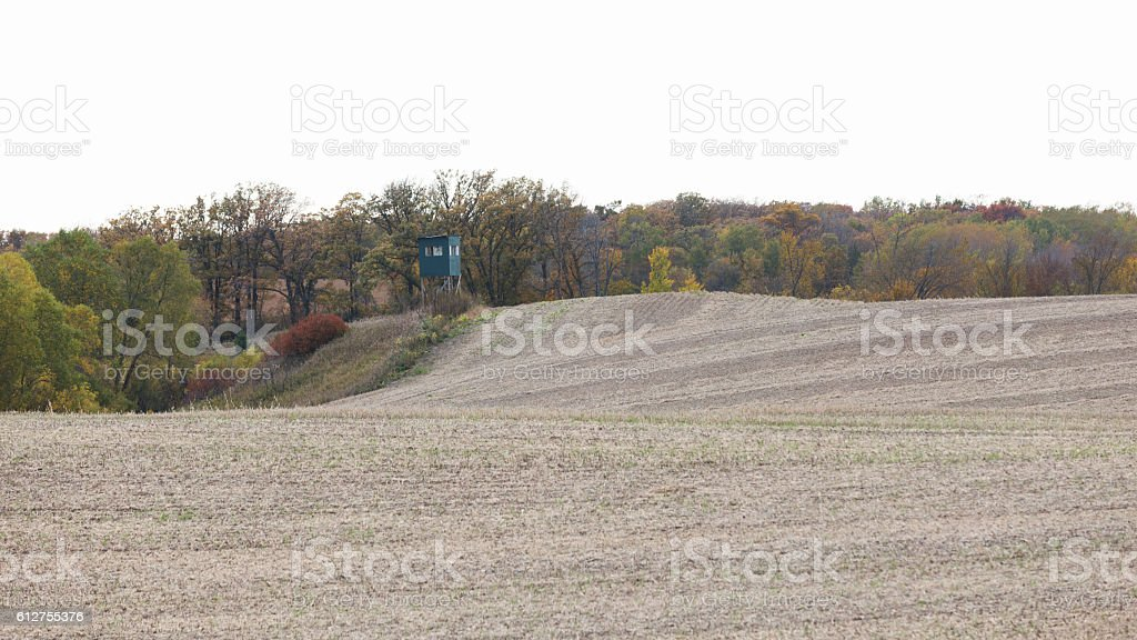 Deer Stand - Hunting Blind on Edge of Field stock photo