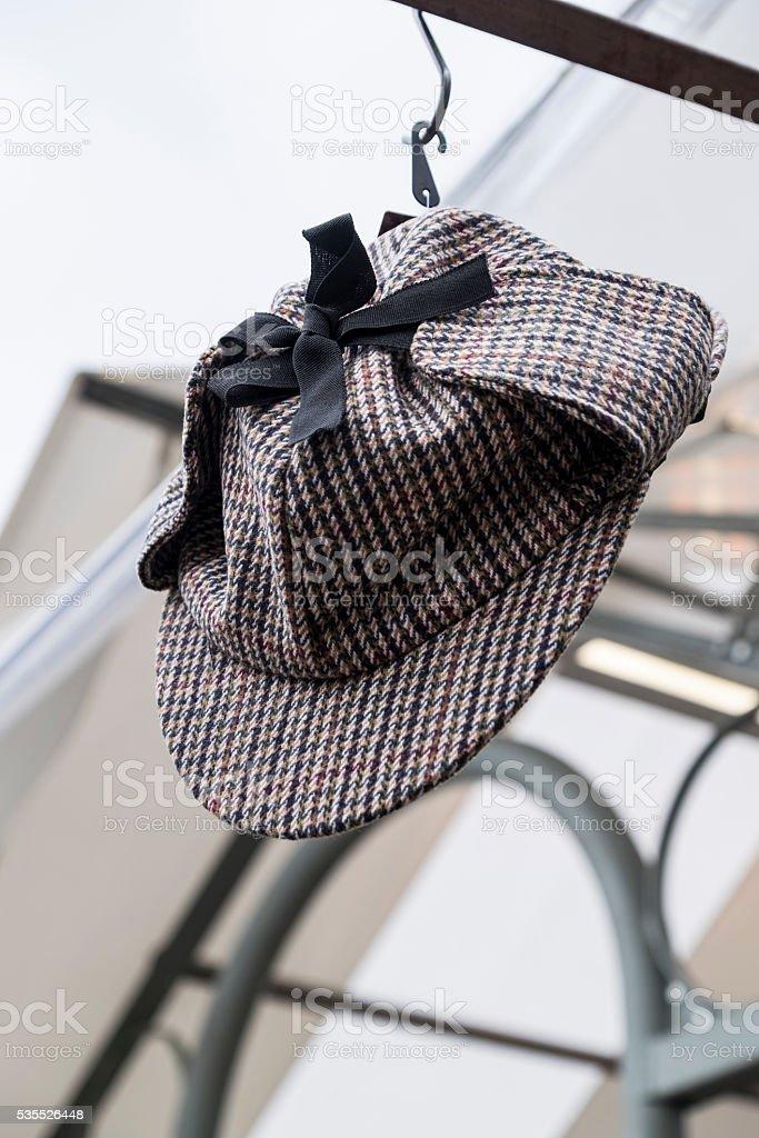 Deerstalker Hat with black ribbon stock photo
