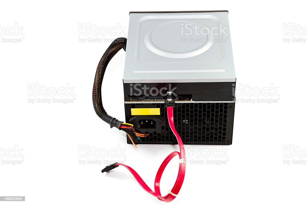 Defect Computer Power Supply with DVD Layer stock photo