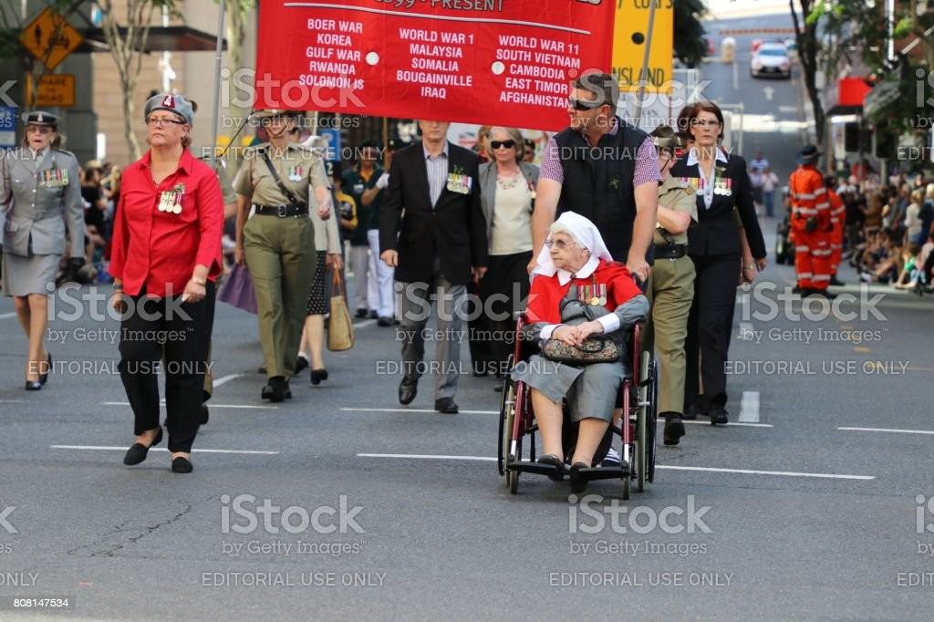 Defence Force nurses march stock photo