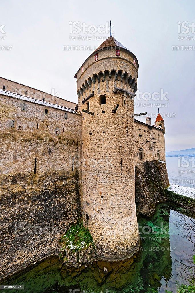 Defence Tower of Chillon Castle on Lake Geneva in Switzerland stock photo