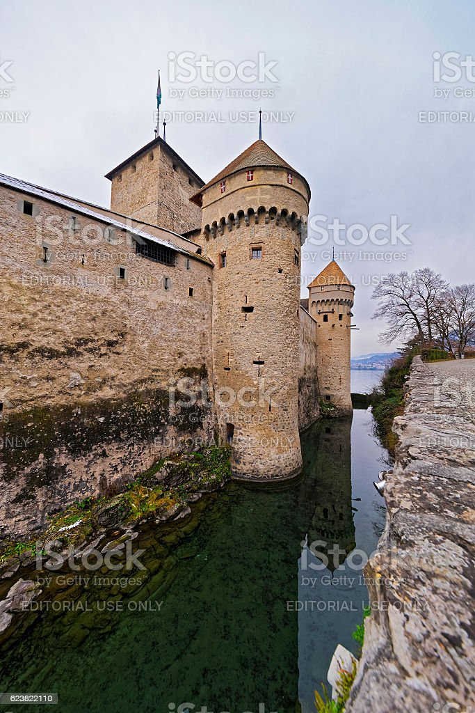 Defence Towers of Chillon Castle on Lake Geneva in Switzerland stock photo