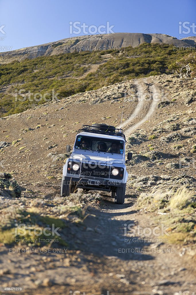 Defender Landrover with tourists on safari in Patagonia Argentina stock photo