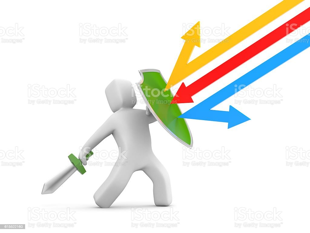 Defender with shield and sword - reflects attack. 3d illustration stock photo
