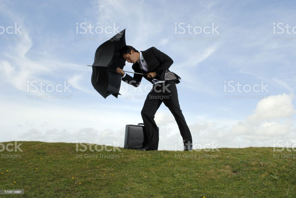 defending the wind royalty-free stock photo