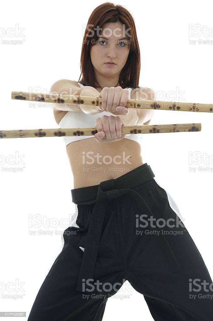 Defensive Escrima sticks stock photo